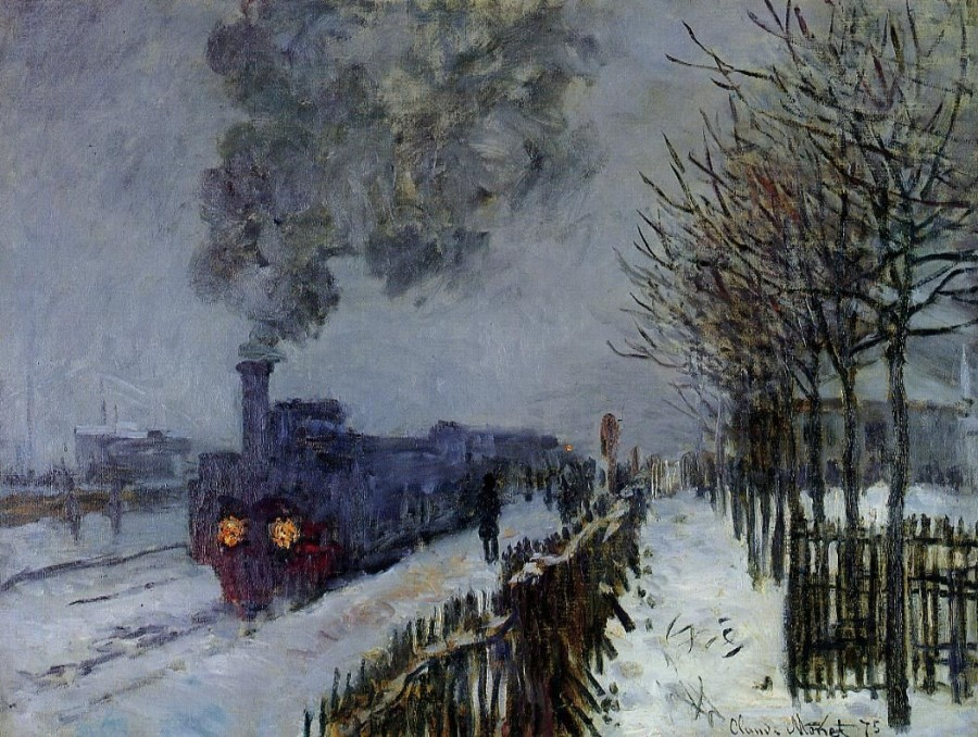 Клод Моне Движущийся поезд в снегу
