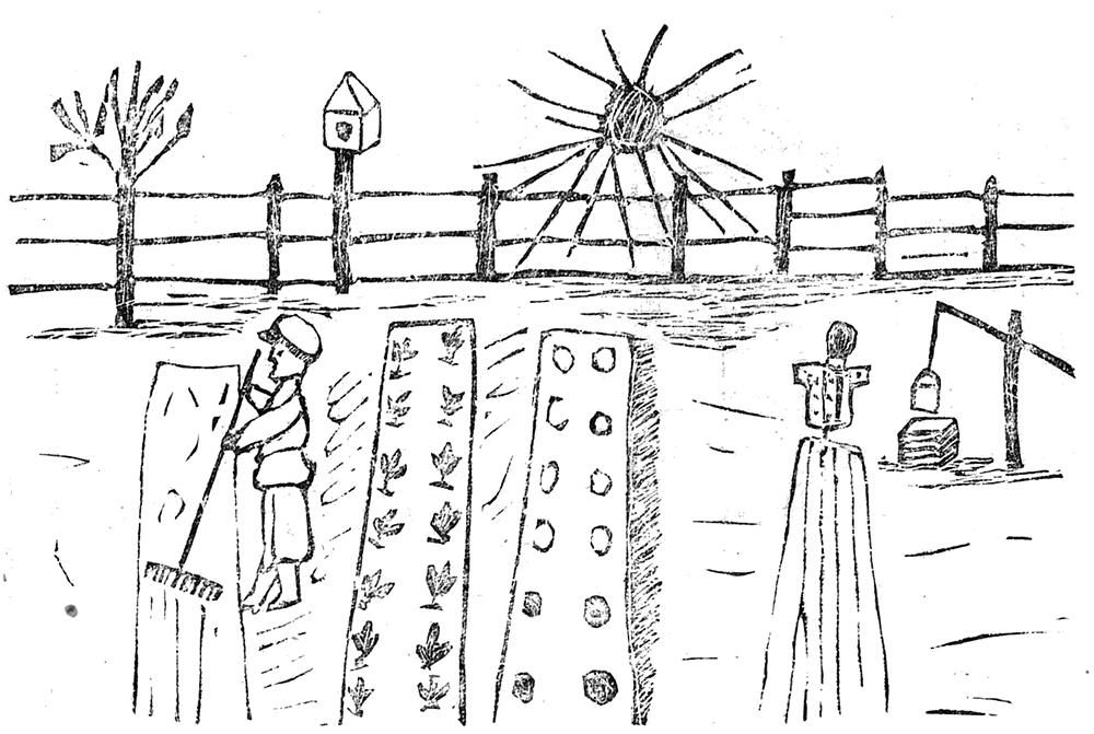 П.Ф. Требуховский. Работа весной на огороде