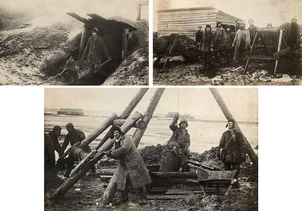 Труд рабочих на Савельевском сланцевом руднике