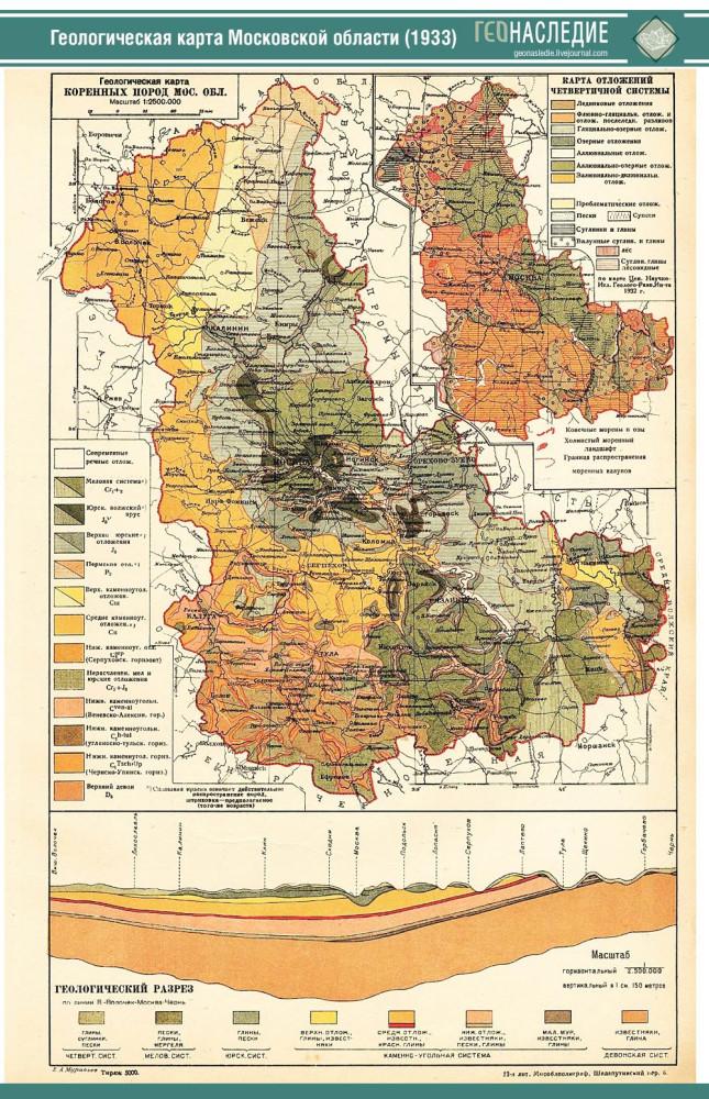 Геологическая карта Московской области