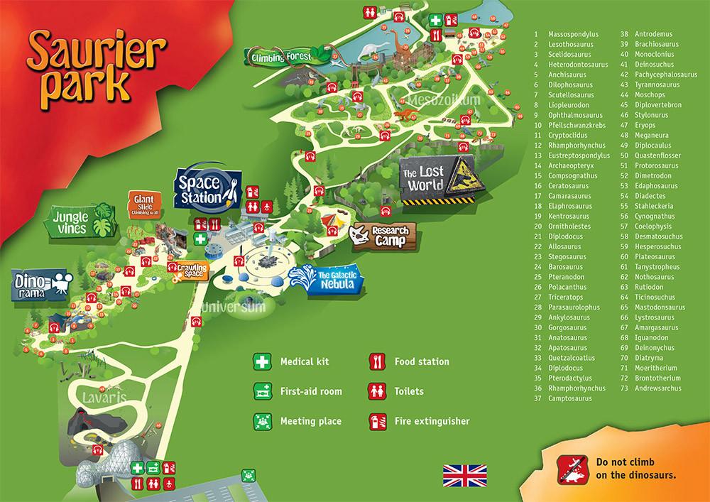 Карта парка на английском языке