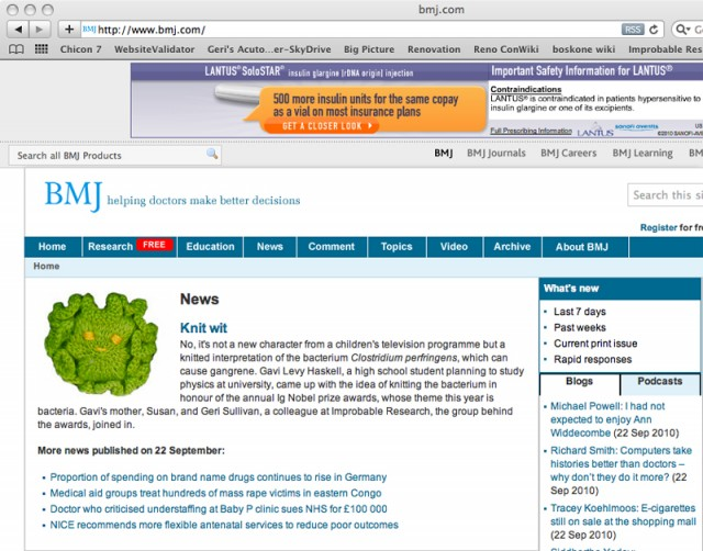 Close-up of BMJ Homepage, 22September2010