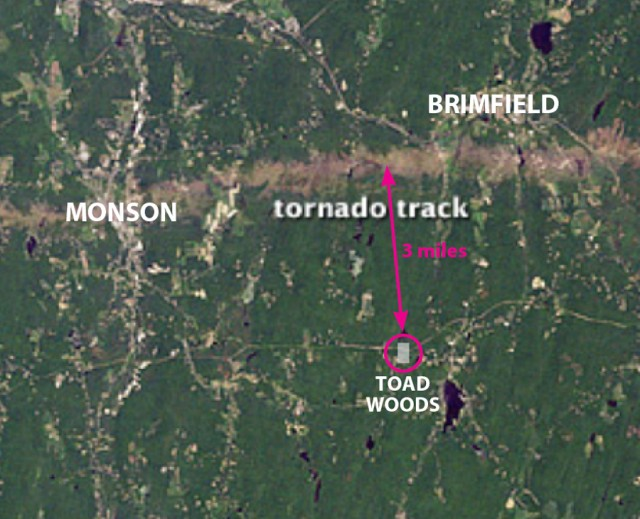 Tornado track close-up, annotated