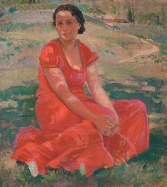 Трескин А.В. Портрет жены в красном