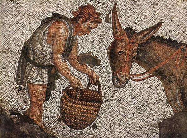 Византийская мозаика. Мальчик и осёл. V век