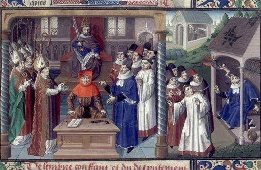Никейский собор и смерть Ария, иллюстрация к Speculum historiale Винсента из Бове