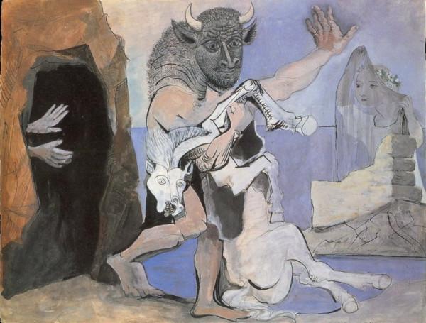 Минотавр убивающий лошадь перед входом в пещеру и девушка с покрывалом. 1936 год