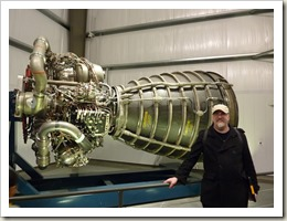 Standing in front of an SSME (Space Shuttle Main Engine)