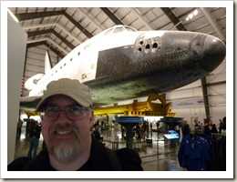 In front of the Space Shuttle Endeavour