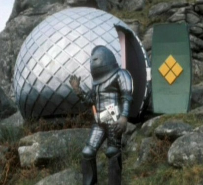 A Sontaran emerging from his spaceship