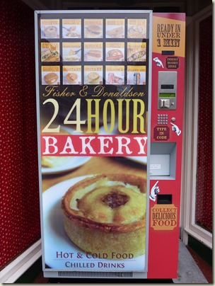 Hot pie vending machine in a shop doorway