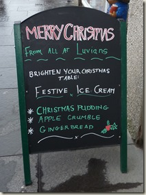 A sign for Festive Ice Cream Flavours (Christmas Pudding, Apple Crumble, and Gingerbread)