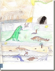 Internal artwork from 'Dinosaurs - Hunter and Hunted', a primary school project