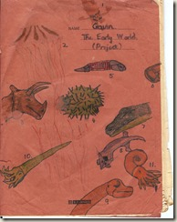 The Early World;  jotter cover from a 1978 primary school project (age 10)