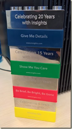 Blocks signifying 20 years at Insights