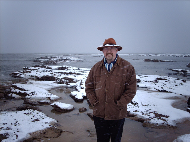 Me in the snow on the beach at Kingsbarns