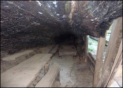 Interior of Tharp's Log, a cabin made of a single hollow sequoia trunk