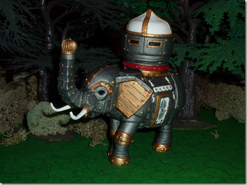 A scale model of a steam-powered elephant.