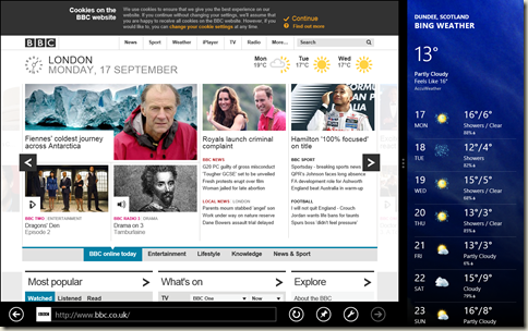 IE in fill view on the left, and a weather app in snapped view on the right.