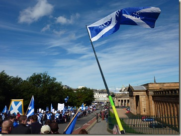 Independence Marchers walking down The Mound in Edinburgh