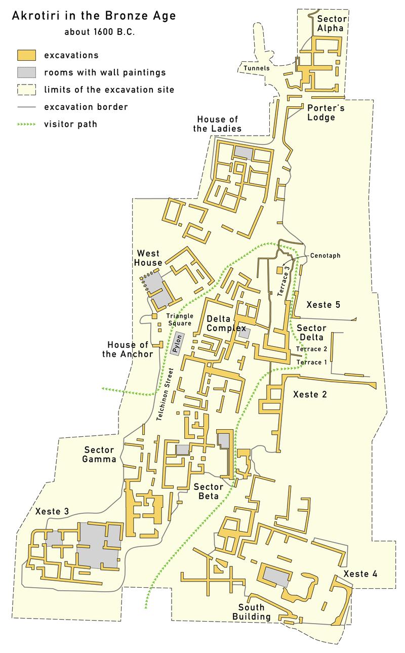 На данный момент раскопками открыто лишь 30% всей площади города, но раскопки продвигаются. По этой схеме мы сможем понять, где и какие находились фрески.