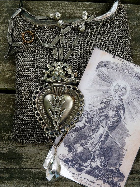 Ex Voto Sacred Heart Necklace, Lovely Repousse French Heart with Stunning Paste