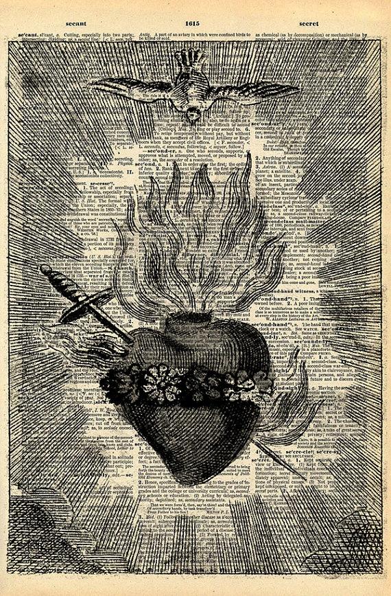 Vintage Book Art Print - Antique Sacred Heart Art - Upcycled Antique Book Print