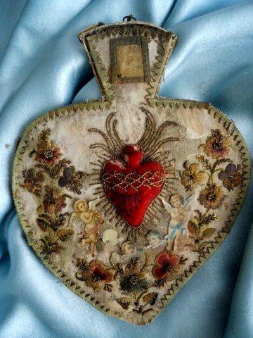 18thc. French Christmas Heart Cherubine Angel
