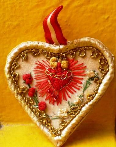 Antique Beautiful Sacred Heart of Jesus Silk Embroidery Scapular Relics Peru