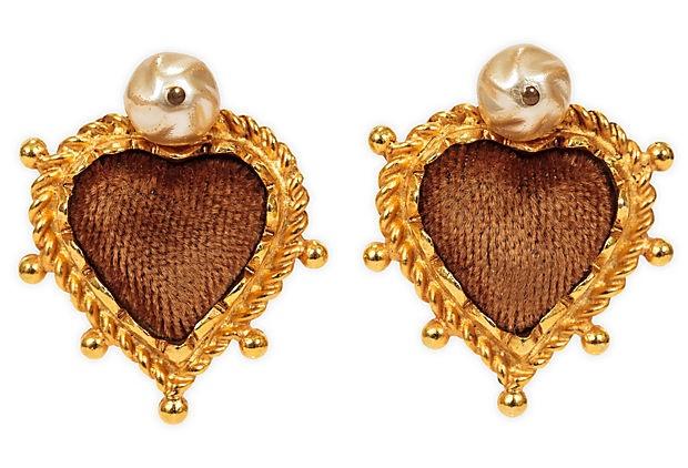 Christian Lacroix Velvet Heart Earrings