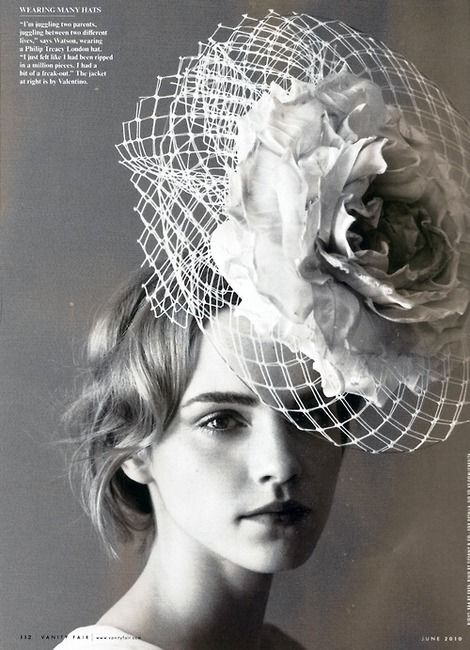 Philip Treacy  photographer Patrick Demarchelier  model Emma Watson  Vanity Fair, June 2010