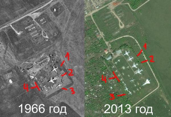 Учебный Аэродром СГАУ со спутника 1966 и 2013 год