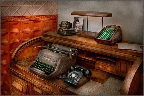 Бухгалтерский офис - Пишущая машинка - Бухгалтер