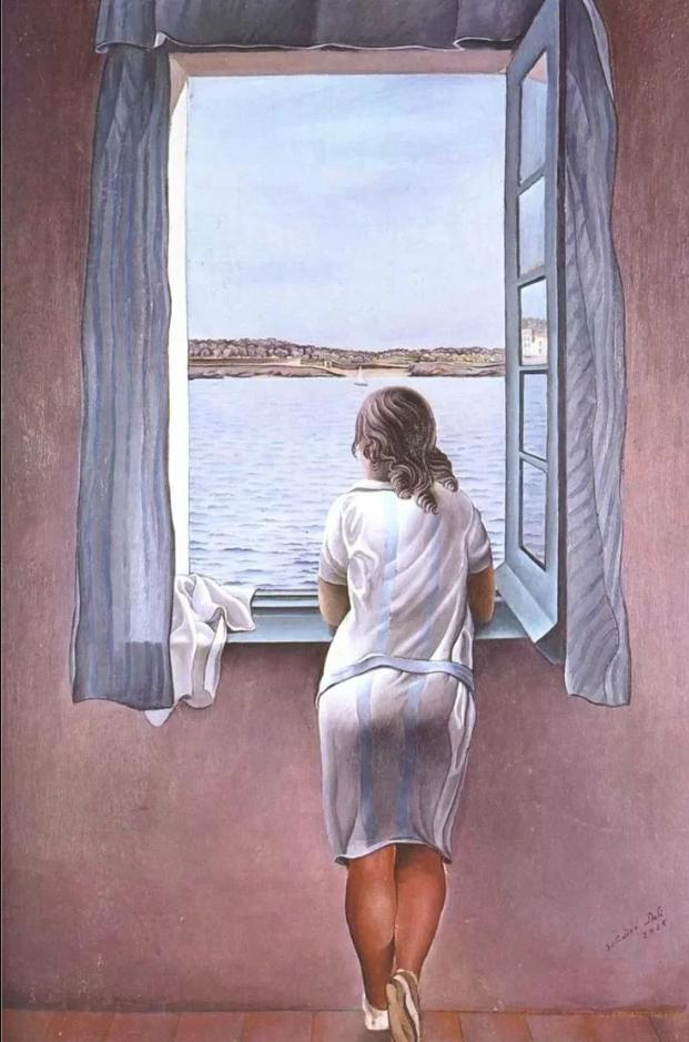 «Фигура женщины у окна», Дали, 1925. Анна Мария смотрит из окна летнего дома Дали в Кадакесе.  Жанр картины чаще всего определяют как магический реализм. Это примерно как «Сто лет одиночества» Маркеса, только в живописи