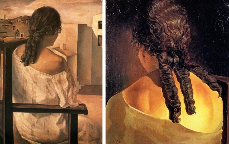 Анна Мария и её фирменные три прядки волос. Тот же 1925 год — «Девушка со спины», и 1926 год – миниатюра «Спина девушки»