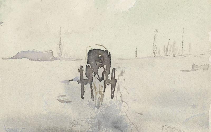 Гости всегда приезжают быстрее, чем вы ожидаете. «Пейзаж с лошадью и каретой», Адольф ле Конт, 1860-1921
