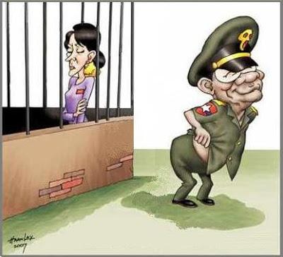Burma Aung San Suu Kyi and Than Shwe