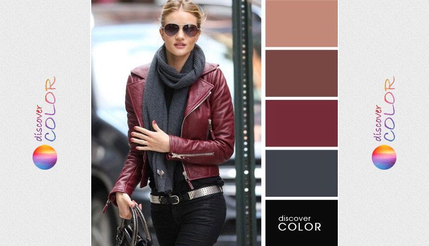 Бордовый и серый в городской моде