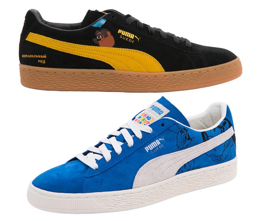 54ead3fd ... замшевых моделях кроссовок Puma Suede. На обуви есть также любимые  цитаты из мультиков: