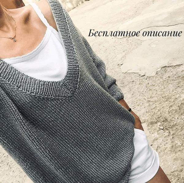 Чудный пуловер спицами с V-образным вырезом — вяжется быстро и предельно просто!