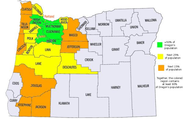 Oregonpopulationmapbycolors