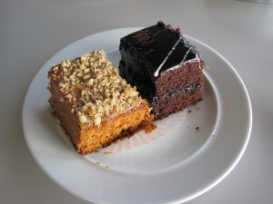 almond cake, chocolate cake