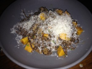 Cocoa tajarin with brown butter giblets, pumpkin & sage