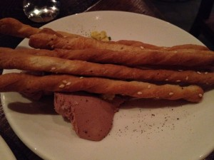 Duck liver mousse with homemade breadsticks