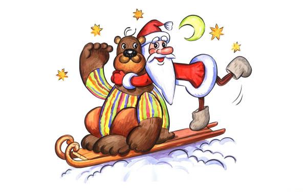bear_santa_claus_greeting_card_stars_moon_sleigh_holiday
