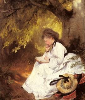 1874 Elegant Lady Reading Under a Tree by Raupp