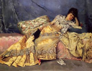 1877 Lady on a Pink Divan by Julius leBlanc Stewart
