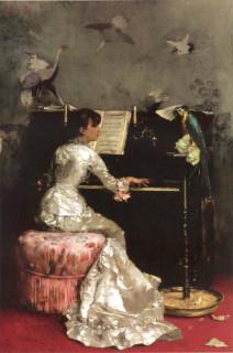 1878 Young Woman at Piano by Julius leBlanc Stewart