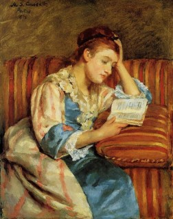 1876 Cassatt Mary Mrs. Duffee Seated on a Striped Sofa Reading