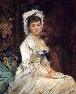 1879 Portrait of a Woman in White by Eva Gonzales